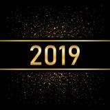 Χρυσό υπόβαθρο καλής χρονιάς Αριθμός που απομονώνεται χρυσός στο Μαύρο Ακτινοβολήστε, ανάψτε το σπινθήρισμα, λαμπυρίστε, λάμψτε κ διανυσματική απεικόνιση