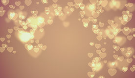 Χρυσό υπόβαθρο καρδιών βαλεντίνων της Tan Στοκ Εικόνες