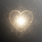 Χρυσό υπόβαθρο με μια καρδιά ελεύθερη απεικόνιση δικαιώματος