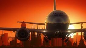 Χρυσό υπόβαθρο οριζόντων απογείωσης αεροπλάνων της Βαρκελώνης Ισπανία απόθεμα βίντεο
