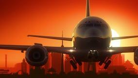 Χρυσό υπόβαθρο οριζόντων απογείωσης αεροπλάνων του Πεκίνου Κίνα φιλμ μικρού μήκους
