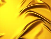 Χρυσό υπόβαθρο υφασμάτων μεταξιού σατέν με τις πτυχές Στοκ Φωτογραφίες