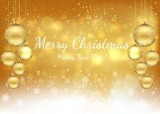 Χρυσό υπόβαθρο Χριστουγέννων με τη Χαρούμενα Χριστούγεννα κειμένων και ευτυχής διανυσματική απεικόνιση