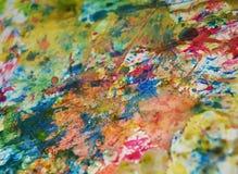 Χρυσό υπόβαθρο χρωμάτων Watercolor, λαμπιρίζοντας λασπώδες κέρινο χρώμα, υπόβαθρο μορφών αντίθεσης στα χρώματα κρητιδογραφιών Στοκ φωτογραφία με δικαίωμα ελεύθερης χρήσης