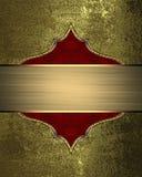 Χρυσό υπόβαθρο Grunge με ένα σημάδι για το κείμενο Πρότυπο για το σχέδιο διάστημα αντιγράφων για το φυλλάδιο αγγελιών ή την πρόσκ Στοκ φωτογραφία με δικαίωμα ελεύθερης χρήσης