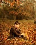 Χρυσό φθινόπωρο στα ξύλα, και ένα μικρό αγόρι Στοκ Εικόνες