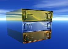 χρυσό φιλοξενώντας ασήμι κεντρικών υπολογιστών ραφιών χαλκού Στοκ εικόνα με δικαίωμα ελεύθερης χρήσης