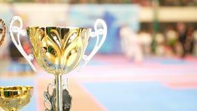 Χρυσό φλυτζάνι μπροστά από την πάλη στο karate πρωτάθλημα απόθεμα βίντεο