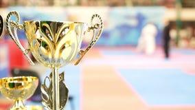 Χρυσό φλυτζάνι μπροστά από την πάλη karate στα πρωταθλήματα απόθεμα βίντεο
