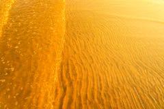 Χρυσό φως που απεικονίζει από ένα κύμα νερού στη θάλασσα και την άμμο στο ηλιοβασίλεμα Στοκ Εικόνες