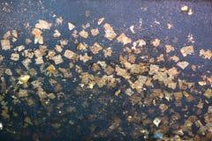 Χρυσό φύλλο αλουμινίου με το μαύρο αντικείμενο Στοκ Εικόνες
