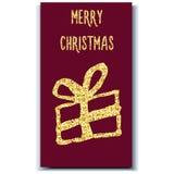 Χρυσό φύλλο αλουμινίου δώρων καρτών Χριστουγέννων Στοκ Εικόνα