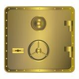 Χρυσό χρηματοκιβώτιο με τον πίνακα Στοκ φωτογραφίες με δικαίωμα ελεύθερης χρήσης