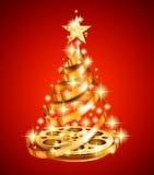 Χρυσό χριστουγεννιάτικο δέντρο λουρίδων ταινιών Στοκ εικόνες με δικαίωμα ελεύθερης χρήσης