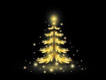 Χρυσό χριστουγεννιάτικο δέντρο στο Μαύρο Στοκ Εικόνες