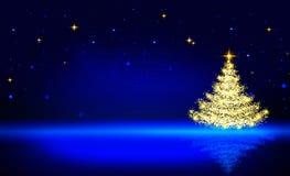 Χρυσό χριστουγεννιάτικο δέντρο και μπλε ουρανός αστεριών Στοκ Εικόνα