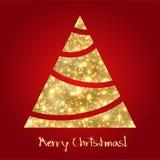 Χρυσό χριστουγεννιάτικο δέντρο. Σκίτσο Στοκ Εικόνες