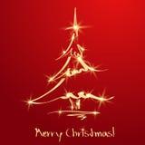 Χρυσό χριστουγεννιάτικο δέντρο στην κόκκινη ανασκόπηση. Σκίτσο Στοκ Εικόνα