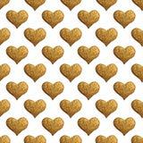 Χρυσό χρωματισμένο χέρι σχέδιο καρδιών Εκλεκτής ποιότητας άνευ ραφής χρυσό υπόβαθρο αγάπης Στοκ Εικόνα