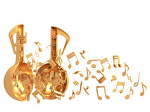 Χρυσό χρώμα ανοιχτών πορτών μουσικής Στοκ εικόνα με δικαίωμα ελεύθερης χρήσης