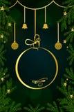 Χρυσό χρώμα ευχετήριων καρτών Χριστουγέννων όμορφο διανυσματική απεικόνιση