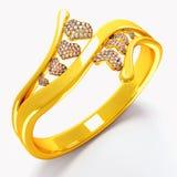 χρυσό δαχτυλίδι καρδιών Στοκ Εικόνες