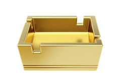 Χρυσό ashtray στο λευκό Στοκ Εικόνες