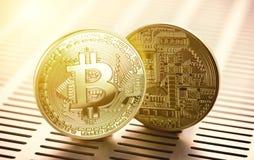 Χρυσό Bitcoin έννοια εμπορικών συναλλαγών crypto του νομίσματος Στοκ Φωτογραφίες