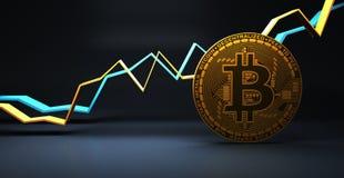 Χρυσό bitcoin για τις στατιστικές έννοιας χρηματοδότησης και τραπεζικών εργασιών, τρισδιάστατη απόδοση ελεύθερη απεικόνιση δικαιώματος