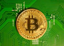 Χρυσό Bitcoin Cryptocurrency στον πίνακα κυκλωμάτων υπολογιστών το μακρο s στοκ εικόνες