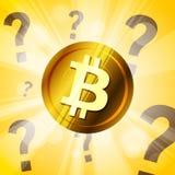 Χρυσό cryptocurrency bitcoin με τα ερωτηματικά στο φωτεινό Στοκ εικόνες με δικαίωμα ελεύθερης χρήσης