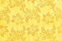 Χρυσό floral υφαντικό σχέδιο μπροκάρ διακοσμήσεων Στοκ Φωτογραφία