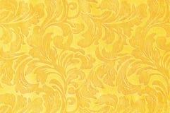 Χρυσό floral υφαντικό σχέδιο μπροκάρ διακοσμήσεων Στοκ εικόνες με δικαίωμα ελεύθερης χρήσης
