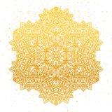 Χρυσό Floral mandala φύλλων αλουμινίου Χρυσό εθνικό henna σχέδιο διακοσμήσεων απεικόνιση αποθεμάτων