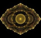 Χρυσό fractal mandala στο μαύρο υπόβαθρο Στοκ εικόνα με δικαίωμα ελεύθερης χρήσης