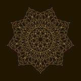 Χρυσό Mandala Κυκλική διακόσμηση προτύπων Στοκ εικόνες με δικαίωμα ελεύθερης χρήσης