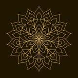 Χρυσό Mandala Κυκλική διακόσμηση προτύπων Στοκ Φωτογραφία