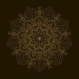Χρυσό Mandala Κυκλική διακόσμηση προτύπων Στοκ Εικόνες