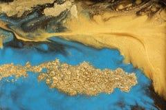 Χρυσό marbling σχέδιο σύστασης Μπλε και χρυσό μαρμάρινο σχέδιο Ρευστή τέχνη διανυσματική απεικόνιση