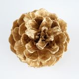 Χρυσό pinecone διακόσμηση Χριστουγέννων χρυσή η ανασκόπηση απομόνωσε το λευκό Στοκ φωτογραφία με δικαίωμα ελεύθερης χρήσης