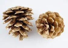 Χρυσό pinecone διακόσμηση Χριστουγέννων χρυσή η ανασκόπηση απομόνωσε το λευκό Στοκ εικόνα με δικαίωμα ελεύθερης χρήσης