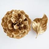 Χρυσό pinecone και χρυσό φύλλο τα Χριστούγεννα διακοσμούν τις φρέσκες βασικές ιδέες διακοσμήσεων η ανασκόπηση απομόνωσε το λευκό Στοκ Εικόνες