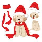 Χρυσό Retriever κουταβιών με το καπέλο και το μαντίλι Santa Ημέρα των Χριστουγέννων ευχετήριων καρτών του Λαμπραντόρ σκυλιών μωρώ διανυσματική απεικόνιση
