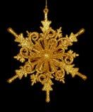 Χρυσό Snowflake αστέρι που απομονώνεται Στοκ Εικόνες