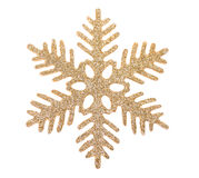Χρυσό snowflake που απομονώνεται στην άσπρη ανασκόπηση Στοκ εικόνα με δικαίωμα ελεύθερης χρήσης