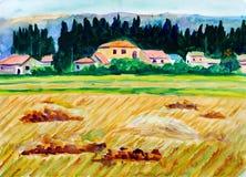 χρυσό watercolor ζωγραφικής πεδίω&nu Στοκ φωτογραφία με δικαίωμα ελεύθερης χρήσης