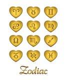 χρυσό zodiac καρδιών Στοκ Φωτογραφία