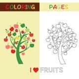 Χρωματίζοντας δέντρο της Apple περιλήψεων σελίδων για τα παιδιά Στοκ Φωτογραφία