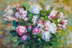 Χρωματίζοντας ακόμα τη σύσταση ελαιογραφίας ζωής, αυξήθηκε τέχνη impressionism Στοκ Φωτογραφία
