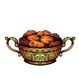 Χρωματίζοντας απεικόνιση των ημερομηνιών σε ένα πολυτελές χρυσό βάζο Εορταστικός μεταχειριστείτε για Ramadan kareem διανυσματική απεικόνιση